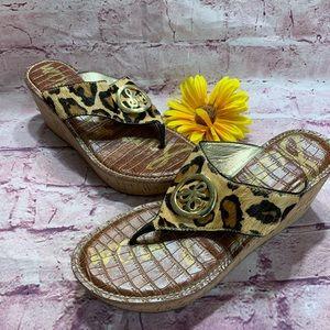 Sam Edelman Womens Size 7.5 Leopard Wedge Sandals